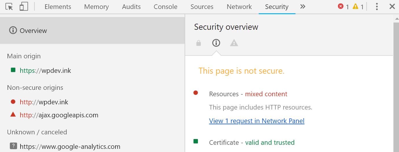 از منوی Security هم میتوانیم مبنای اصلی خطا را مشاهده کنیم.